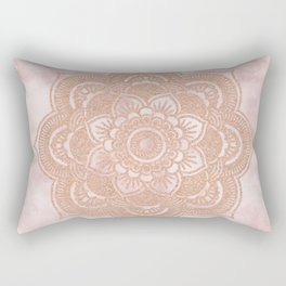 Rose gold mandala - pink marble Rectangular Pillow