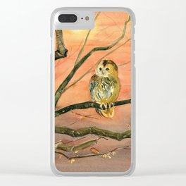 Colorful Owl Art Clear iPhone Case