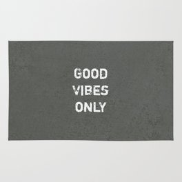 """Good Vibes Only""  Typography Motivational Quote Rug"