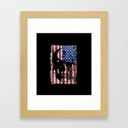 Grunge Skull On American Flag Framed Art Print