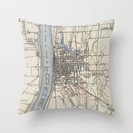 Vintage Map of Baton Rouge Louisiana (1906) Throw Pillow