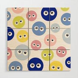 Blobs with eyes Wood Wall Art
