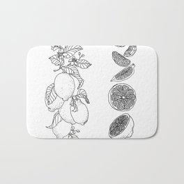 Citrus Branch of Lemons and Slices of Fruit Bath Mat
