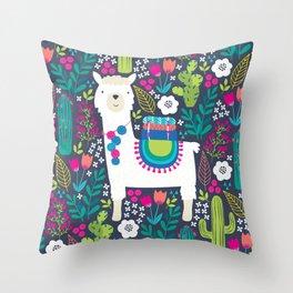 Llama Garden Throw Pillow