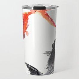 Two KOI , Feng Shui, Fish art, Travel Mug