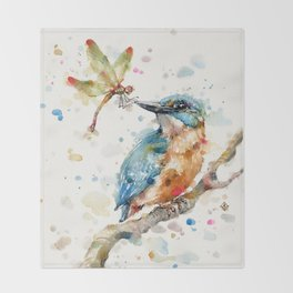 Interesting Relationships (Kingfisher & Dragonfly) Throw Blanket