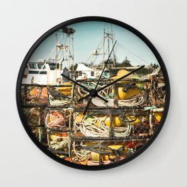 Crab Pot Photograph, Ilwaco Washington Harbor, Northwest Fisherman Boat Photo, Crabber, Seafood Wall Clock