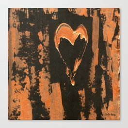 Liquid Copper Heart Canvas Print