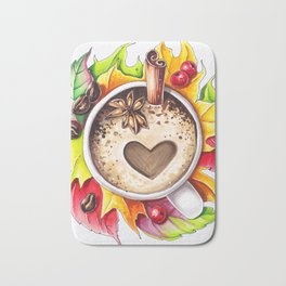 Fall and cup of coffee Bath Mat