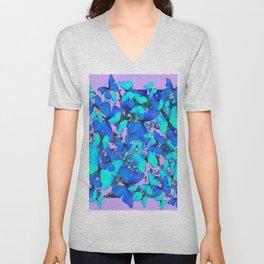 Blue Butterflies Pink Melange Art Unisex V-Neck