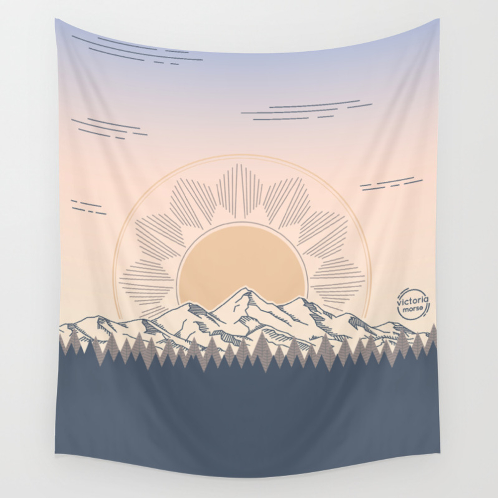 Mountain Range Sunrises Wall Tapestry by Victoriamorse TPS8574931