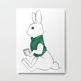 Rabbit Mug Metal Print