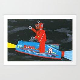 rocket robot Art Print