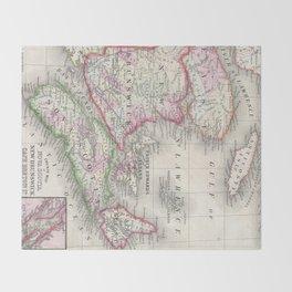 Vintage Nova Scotia and New Brunswick Map (1866) Throw Blanket