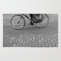 cycling Area & Throw Rugs featuring cycling in the city by habish
