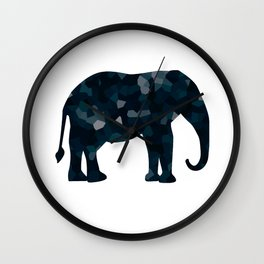Navy Blue Polygon Elepephant Wall Clock