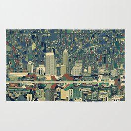 indianapolis city skyline green Rug