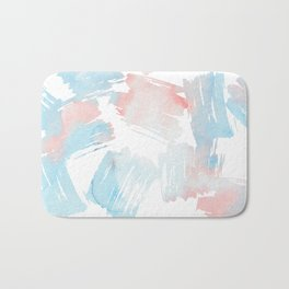 Pastel coral teal modern watercolor paint brushstrokes Bath Mat