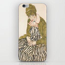 "Egon Schiele ""Edith with Striped Dress, Sitting"" iPhone Skin"