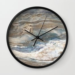 Pearly Blue Swirl Marble Wall Clock