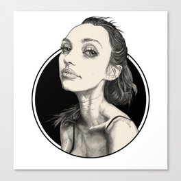 Arina Black Circle Canvas Print