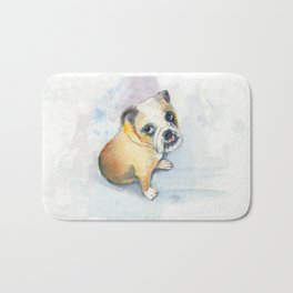 Sweet Bulldog Puppy Bath Mat
