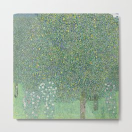 Rosebushes under the Trees - Gustav Klimt Metal Print