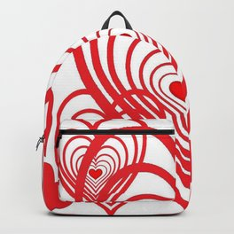 0PTICAL ART RED VALENTINES HEARTS IN HEARTS DESIGN Backpack