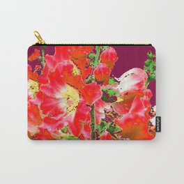 Burgundy  Red Orange Holly Hocks Pattern  Color Floral Art Carry-All Pouch