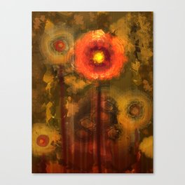 Abstract flowers in golden light Canvas Print