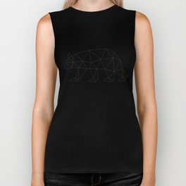 Geometric Bear in Black and White Biker Tank