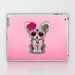 Pink Day of the Dead Sugar Skull White Lion Cub Laptop & iPad Skin
