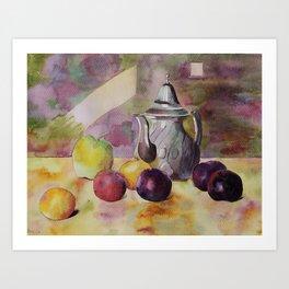 Still-life with plums Art Print