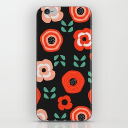 Midnight floral decor iPhone Skin
