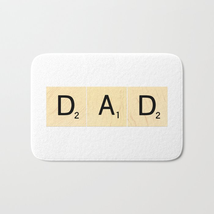 DAD - Horizontal Scrabble Tile Art and Accessories for Father's Day Bath Mat