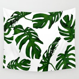 Simply Tropical Palm Leaves in Jungle Green Wall Tapestry