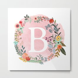 Flower Wreath with Personalized Monogram Initial Letter B on Pink Watercolor Paper Texture Artwork Metal Print