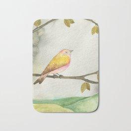 Pink Yellow Bird Bath Mat