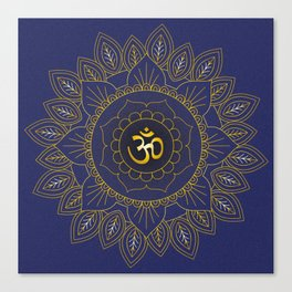 Om Symbol and Mandala in Spiritual Gold Purple Blue Violet Canvas Print