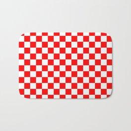 Jumbo Australian Racing Flag Red and White Checked Checkerboard Pattern Bath Mat