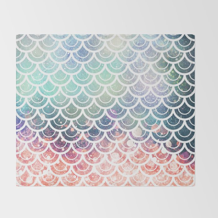Mermaid Scales Coral And Turquoise Throw Blanket By Naturemagick Cool Coral Colored Throw Blanket