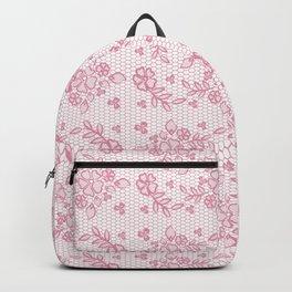 Elegant stylish dusty pink white floral lace Backpack
