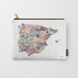 Spain map flowers composition Carry-All Pouch