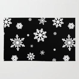 Snowflakes | Black & White Rug
