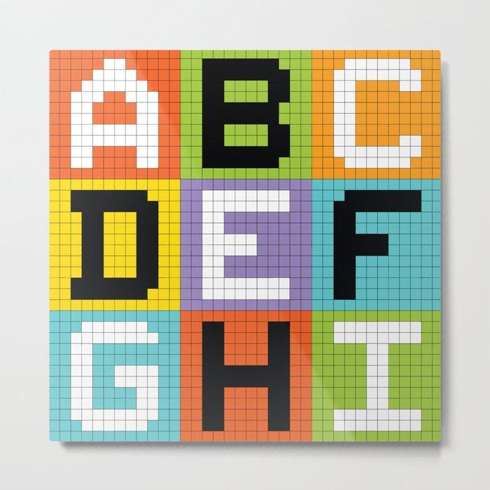 Pixel Alphabet Letters: ABC DEF GHI Metal Print