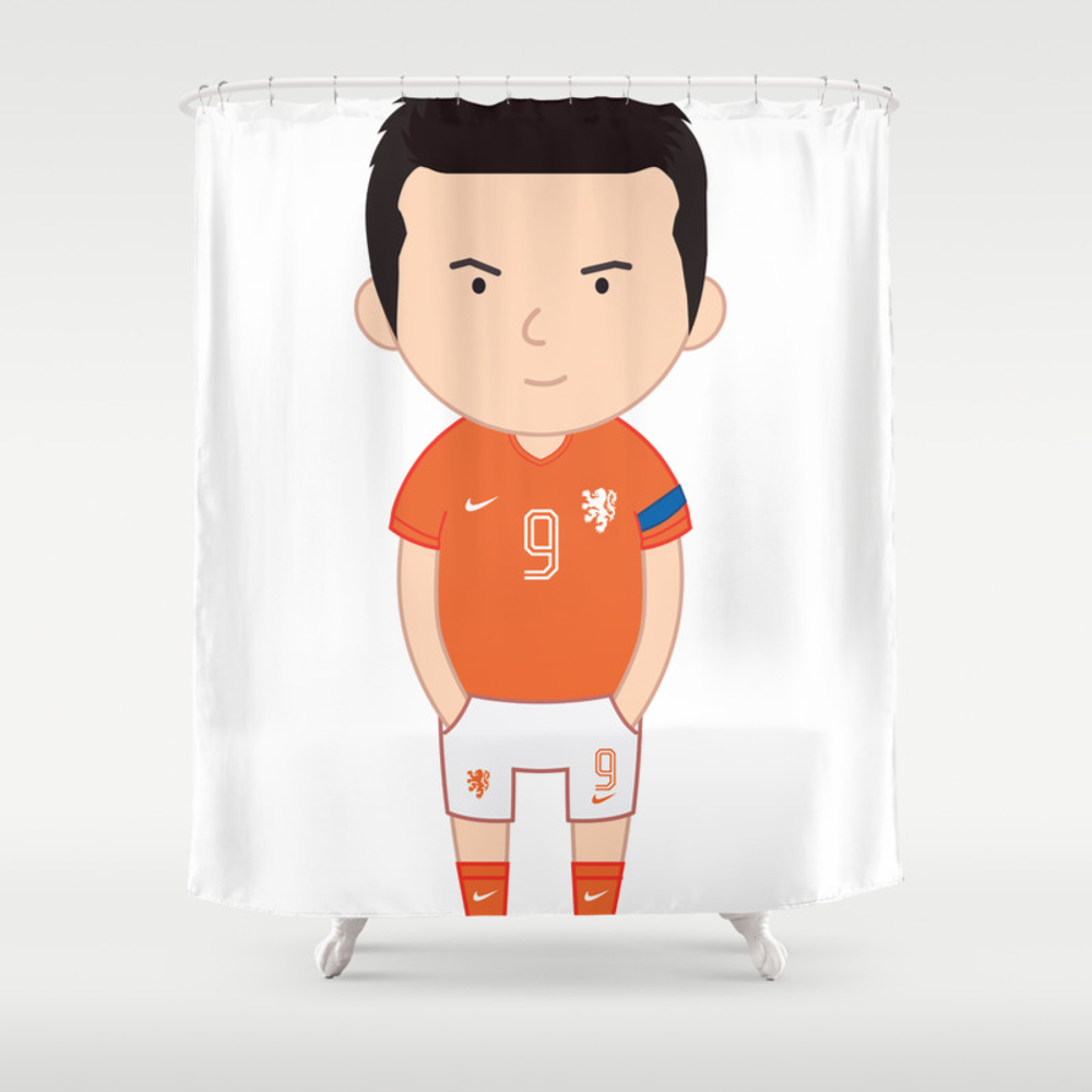 Robin Van Persie - Netherlands - World Cup 2014 Shower Curtain by Toonsoccer CTN9019159