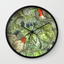 Robins in Blackberry Bush Wall Clock