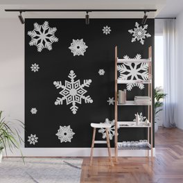 Snowflakes   Black & White Wall Mural