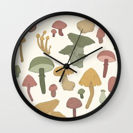 Collecting Wild Mushrooms Wall Clock