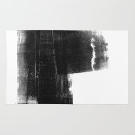 Weathered - Black and White Minimalist Abstract Monotype Rug